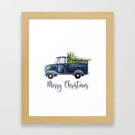 Blue Christmas Truck Framed Art Print