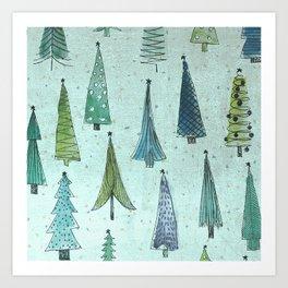 MidCentury Christmas Trees 1.0 Art Print