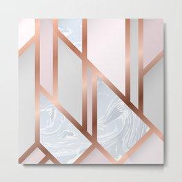 White Pastel Art Deco Metal Print
