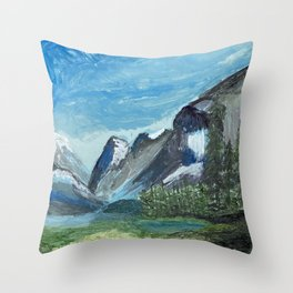 Acrylic Mountain Scene Throw Pillow
