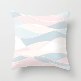 Pastel Waves // Beach Surf Light Colors Peach Blush Aqua Ocean Tides Vintage Surfing Vibes Throw Pillow