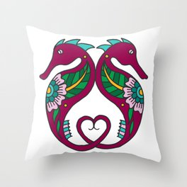 Seahorses with Heart Tail  Throw Pillow