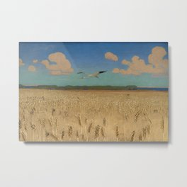 'Fields of Gold' landscape painting by Agnes Slott-Møller Metal Print