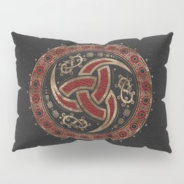Odin's Horn Black and Red Leather and gold Pillow Sham