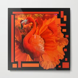 ART DECO BLACK & SAFFRON FLORIDA FLAMINGOS ART Metal Print