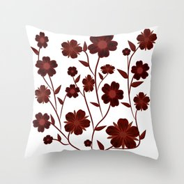 Deep Red Flowers  Throw Pillow