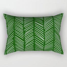 Forest Green Herringbone Rectangular Pillow