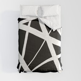 Geometric Line Abstract - Black White Comforters