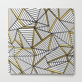 Ab Lines 2 White Gold Metal Print