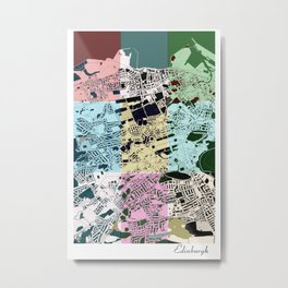 Edinburgh city map, 60's inspired Pop Art design Metal Print