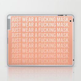 Just Wear A F*cking Mask in Peach Gradient Laptop & iPad Skin