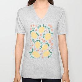 Summer Lemons with Pink Blossoms Unisex V-Neck