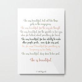She Was Beautiful By F. Scott Fitzgerald 3 #minimalism #poem Metal Print