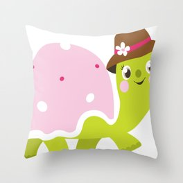 Beautiful kids and baby Drawing Turtle Throw Pillow
