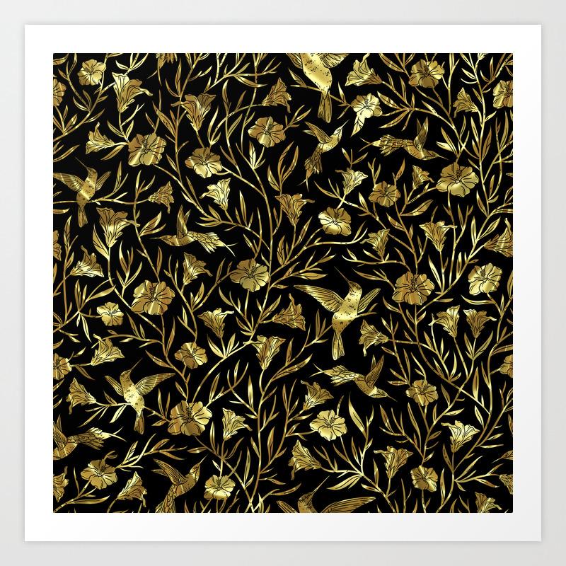 Black And Gold Foil Humming Birds Leafs Pattern Art Print By Artonwear Society6