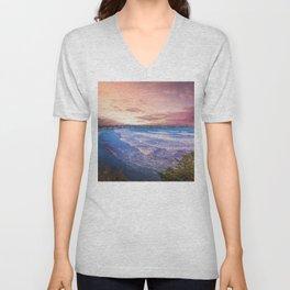 First Beach - Cliff Walk Newport, Rhode Island Sunset Landscape Unisex V-Neck
