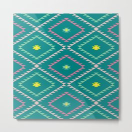 Southwestern Geometric - Bright Colors and Teal Metal Print