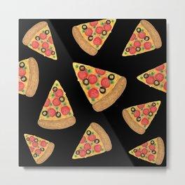 Pizza Party Black Pattern Metal Print