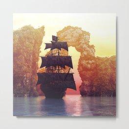 A pirate ship off an island at a sunset Metal Print