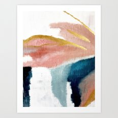 Exhale: a pretty, minimal, acrylic piece in pinks, blues, and gold Art Print
