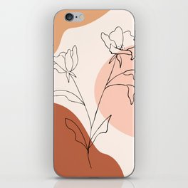 Poppies line drawing iPhone Skin