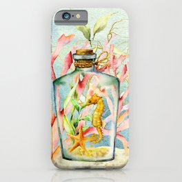 Watercolor Under Sea Collection: Seahorse in Bottle iPhone Case