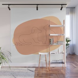 Cat and Dog Lover Line Drawing Wall Mural
