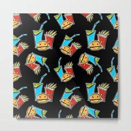 Fun Fast Food (seamless pattern in black) Metal Print
