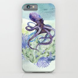 Watercolor Under Sea Collection: Octopus iPhone Case