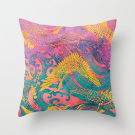 Waves and Cranes Chinoiserie Art Print   Japanese Katagami Stencil Design in Pink, Emerald Green, Saffron Yellow Throw Pillow