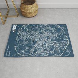Rome Blueprint Street Map, Rome Colour Map Prints Rug