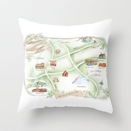 Watercolor Map of Sun Valley Throw Pillow