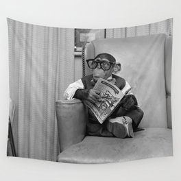 Dad on a Good Day - Chimpanzee Father reading the New York Times black and white photograph Wall Tapestry