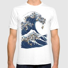The Great Wave of Pug White MEDIUM Mens Fitted Tee