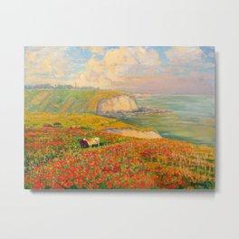 Václav Radimský (1867-1946) Normandy coast in bloom Impressionist Landscape Painting Bright Colors Metal Print