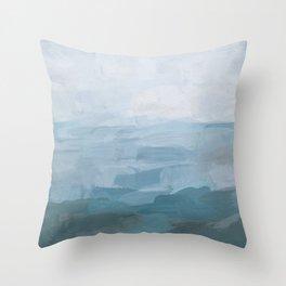 Sky Denim Teal Blue Abstract Nature Ocean Painting Art Print Wall Decor  Throw Pillow