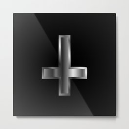 An inverted cross- The Cross of Saint Peter used as an anti-Christian and Satanist symbol. Metal Print