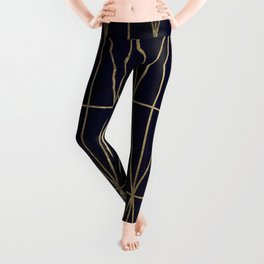 Modern gold geometric triangles pattern navy blue watercolor Leggings