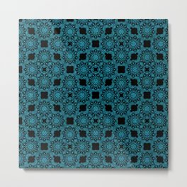 Turquoise and Black Flower Doodle with Digital Glitter Effect -Graphic Design Pattern Metal Print