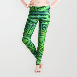 Pointy pattern in green, yellow, and blue Leggings