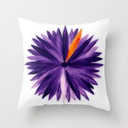 Orange Slice, Purple Flower Throw Pillow