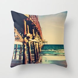 Cherry Grove SC Fishing Pier Throw Pillow