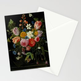 """Jan van Kessel de Oude """"Tulips, peonies, chicory, carnations, cherry blossom and other flowers"""" Stationery Cards"""
