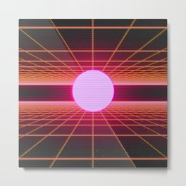 Retro 80s Grid 'Into the Void' Metal Print