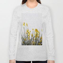 Minimal Garden -Yellow Version - Black Stems with Yellow Petals On White #decor #society6 #buyart Long Sleeve T-shirt