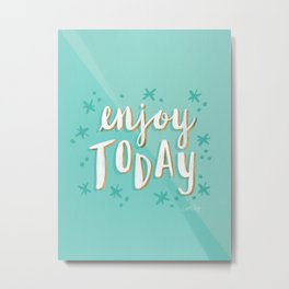 Enjoy Today – Mint & Gold Palette Metal Print