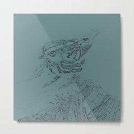 Black and White Warbler Sketched in Blue Metal Print