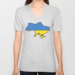 Ukraine Map with Ukrainian Flag Unisex V-Neck