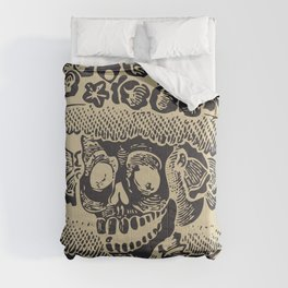 Calavera Catrina | Skeleton Woman | Anthracite and Soybean | Comforters