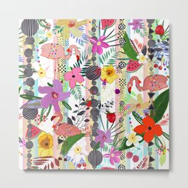Tropical Flower, Flamingo and Exotic Flowers Pattern With Cherry, Strawberry Metal Print